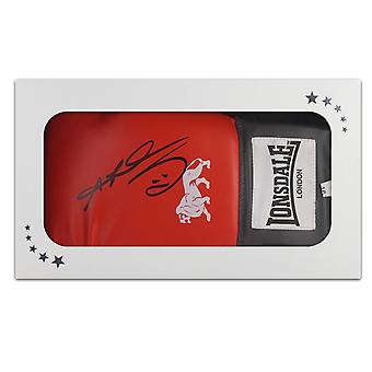 Sugar Ray Leonard Signed Red Boxing Glove In Gift Box