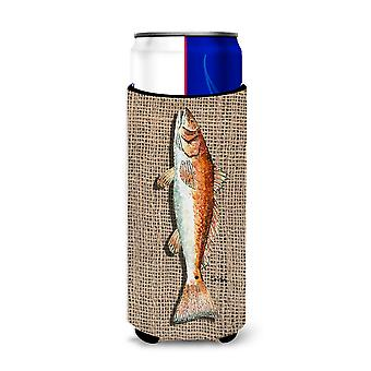 Fish Red Fish  on Faux Burlap Ultra Beverage Insulators for slim cans 8736MUK