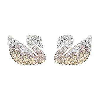 עגילים ברבור איקוני סברובסקי-גדול-צבעוני-הציפוי rhodio