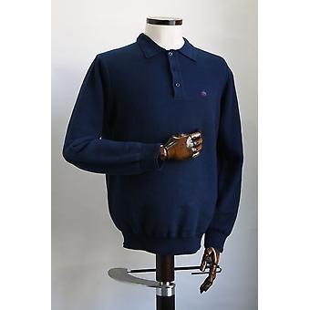 Merc London Collier Navy Blue Long Sleeve Polo Shirt