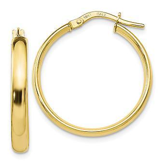 3mm 10k Ouro Amarelo Brincos de Argola Joias Para Mulheres