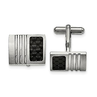 Stainless Steel Brushed Carbon Fiber Cuff Links Jewelry Gifts for Men