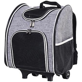 PawHut Two Wheel Pet Carrier Trolley Backpack Bag Portable w/ Handle Shoulder Straps Windows Comfortable Floor Pad Grey
