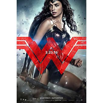 Batman V Superman Dawn Of Justice Original Movie Poster Double Sided Advance Style E - Rare Wonder Woman