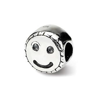 925 Sterling Silver Polished Reflections Kids Smiley Face Bead Charm Pendant Necklace Jewelry Gifts for Women