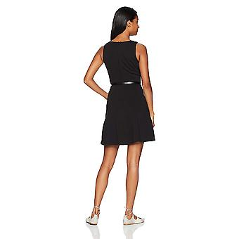 A. Byer Women's Sleeveless Fit and Flare Belted Dress, Black, 13