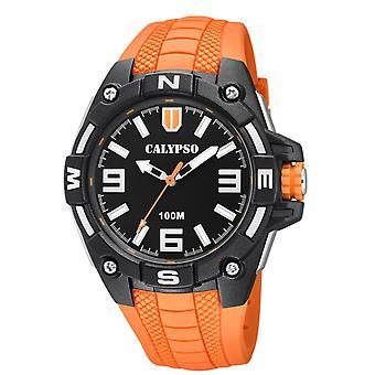 Montre Calypso K5761-3 - STREET STYLE Bracelet R�sine Orange Boitier R�sine Noir Homme