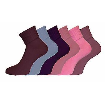 Bayanlar Turn Over Top Sıcak Akrilik Kısa Moda Çorap 6 paket Boyutu 4-8 Aralık 4