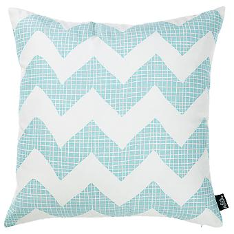 Aqua Blue Chevron Printed Decorative Throw Pillow Cover