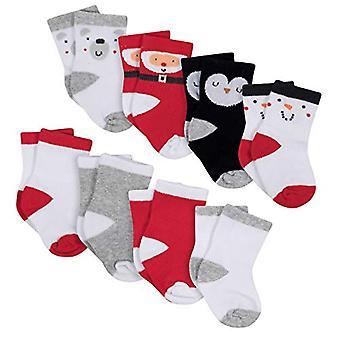 Gerber Unisex Baby 8-Pair Wiggle Proof Sock, Santa 6-12, Santa, Size 6-12 Months