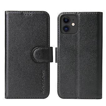 Voor iPhone 11 Case iCoverLover Black Genuine Cow Leather Wallet Folio Case