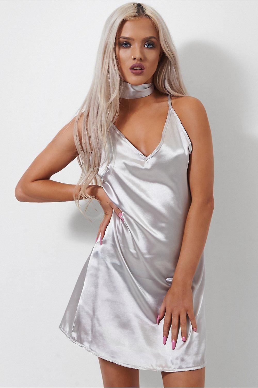 Saisa Satin Choker Dress