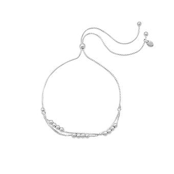 Adjustable Double Strand 925 Sterling Silver Box Chain Bracelet 3mm Beads Jewelry Gifts for Women