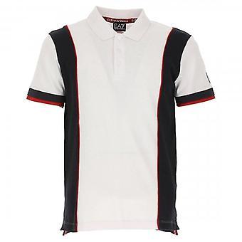 EA7 Emporio Armani White Navy Polo T-Shirt 3GPF81