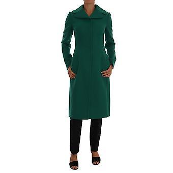 Dolce & Gabbana Green Wool Trenchcoat Long Coat