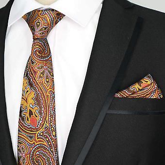Bright orange & blue patterned pocket square & tie set