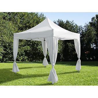Pop up gazebo FleXtents Steel 4x4 m White, incl. 4 decorative curtains