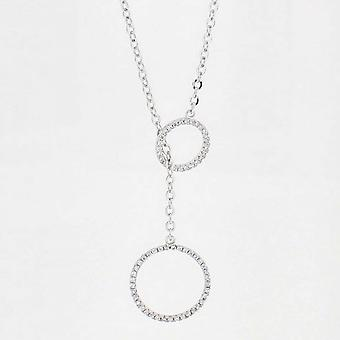 Nour London Open Diamante Circle Fine Chain Necklace