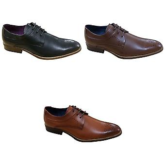Goor Mens 3 Eye Pig Leather Gibson Brogue