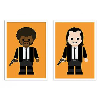2 Art-Posters - Duo Jules and Vincent Pulp Fiction Toys - Rafa Gomes