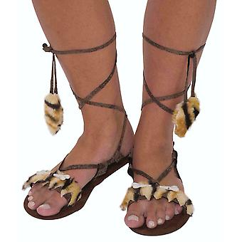 Cavewoman Cave Prehistoric Stone Age Jungle Womens Costume Shoes Sandals