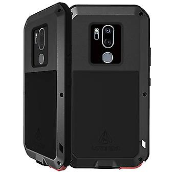 Love Mei powerful hybrid shockproof case LG G7 ThinQ, screen protector - Black