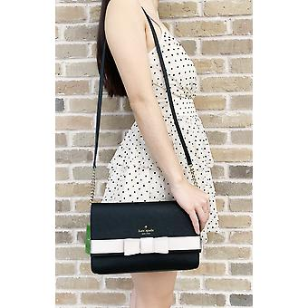 Kate spade kirk park saffiano veronique alek crossbody bow black beige bow
