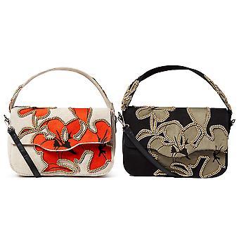Desigual Women's Hibiscus Rock Amorgos Cross Body Bag Hawaii Floral Beaded Design