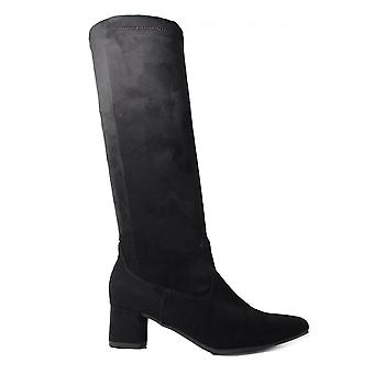 Ara Mayenne St 61623-71 Black Suede Leather Womens Heeled Long Leg Boots