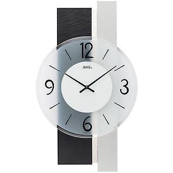 Wall clock kvartsista analoginen hopea moderni AMS 9555 liuskekivi ja lasi