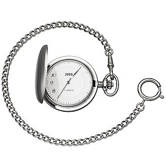 JOBO pocket watch with chain manual winding chromeplated with jump lid