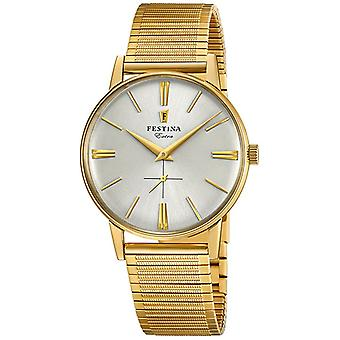 Extra Quartz Analog Man Watch Festin with F20251/1 Gold Plated Stainless Steel Bracelet