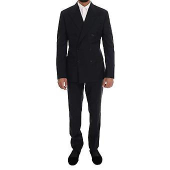 Dolce & Gabbana Blue Wool Double Breasted SICILIA Suit -- KOS1520048