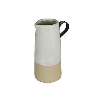 Antiqued Crazed Finish Beige Ceramic Decorative Pitcher 9.5 Inches Tall