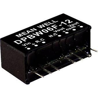 Mean Well DPBW06G-15 DC/DC omvandlare (modul) 200 mA 6 W Nr. av utgångar: 2 x