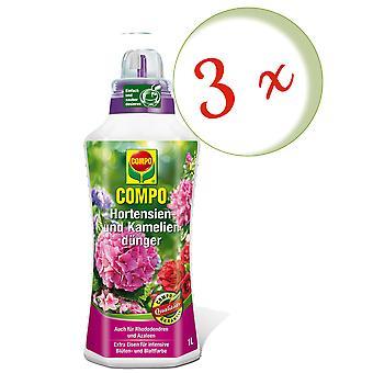 Sparset: 3 x COMPO hydrangea and camellia fertilizer, 1 litre