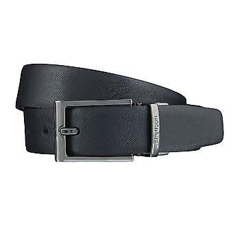 Strellson belts men's belts leather belt belt dark blue/black 3845