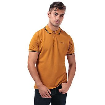 Ben sherman men's gold twin tipped polo shirt
