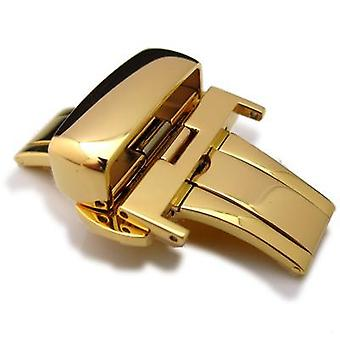 Strapcode watch clasp 20mm, 22mm, 24mm deployment buckle / clasp, gold plated stainless steel for leather strap