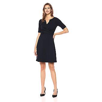 Lark & Ro Women's Half Sleeve Twist Front Fit and Flare Dress, Navy, 10