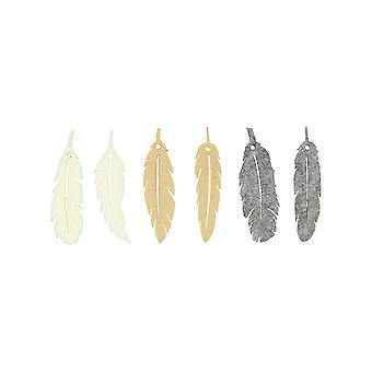 6 Natural Thick Felt Feather Embellishments for Adults Papercraft