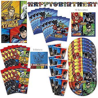 Justice League Party Set XL 58-teilig original DC Comics für 8 Gäste Party Superhelden Geburtstag Partypaket