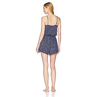 Brand - Mae Women's Sleepwear Printed Romper Pajamas, Navy Dot, Medium