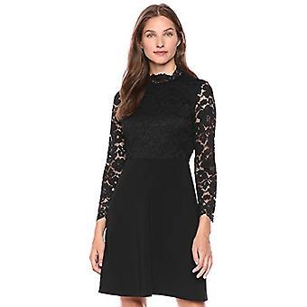 Merk - Leeuwerik & Ro Women's Long Sleeve Mixed Lace Dress, Black 8