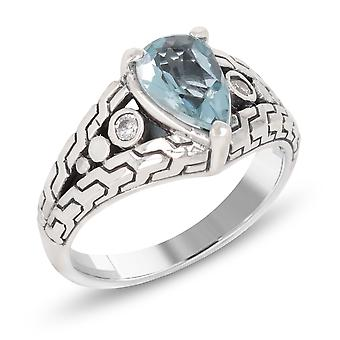 ADEN 925 Sterling Silver Topaz pear shape Ring (id 4449)