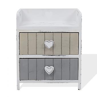 Rebecca Mobile Bathroom Bedside Table 2 Drawers White Shabby 44x35x27
