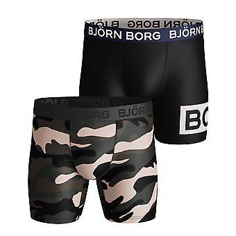 Bjorn Borg Miehet&s Boxer Shortsit 2 Pack ~ Rauhallinen oliivi