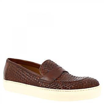 Leonardo Shoes Men's handgemaakte slip-on sneakers schoenen in bruin geweven kalfsleer