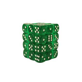 チェスセックス半透明グリーン/ホワイト12mm D6ブロック