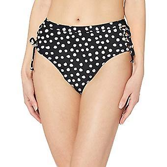 California Sunshine Women's High Waist Lace Up Bikini Swim Bottom, Black/Whit...